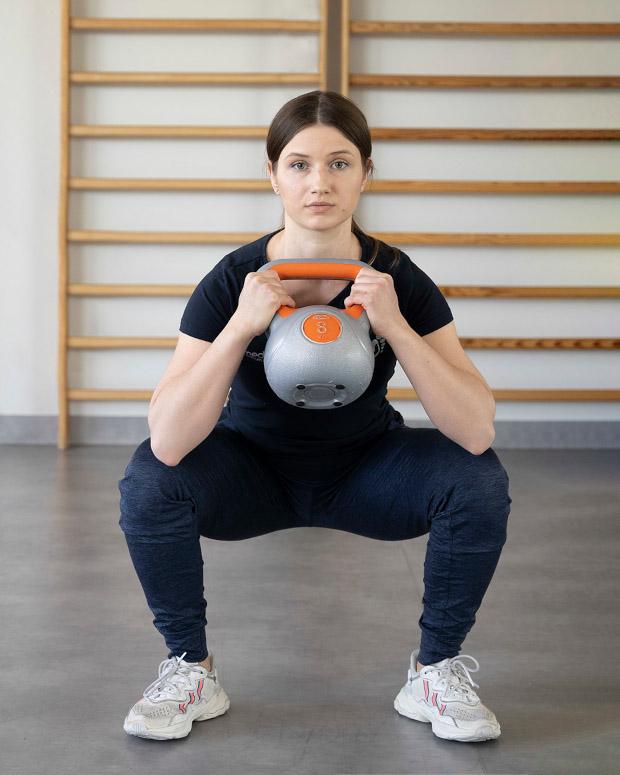 przysiad obunoz typu goblet squat